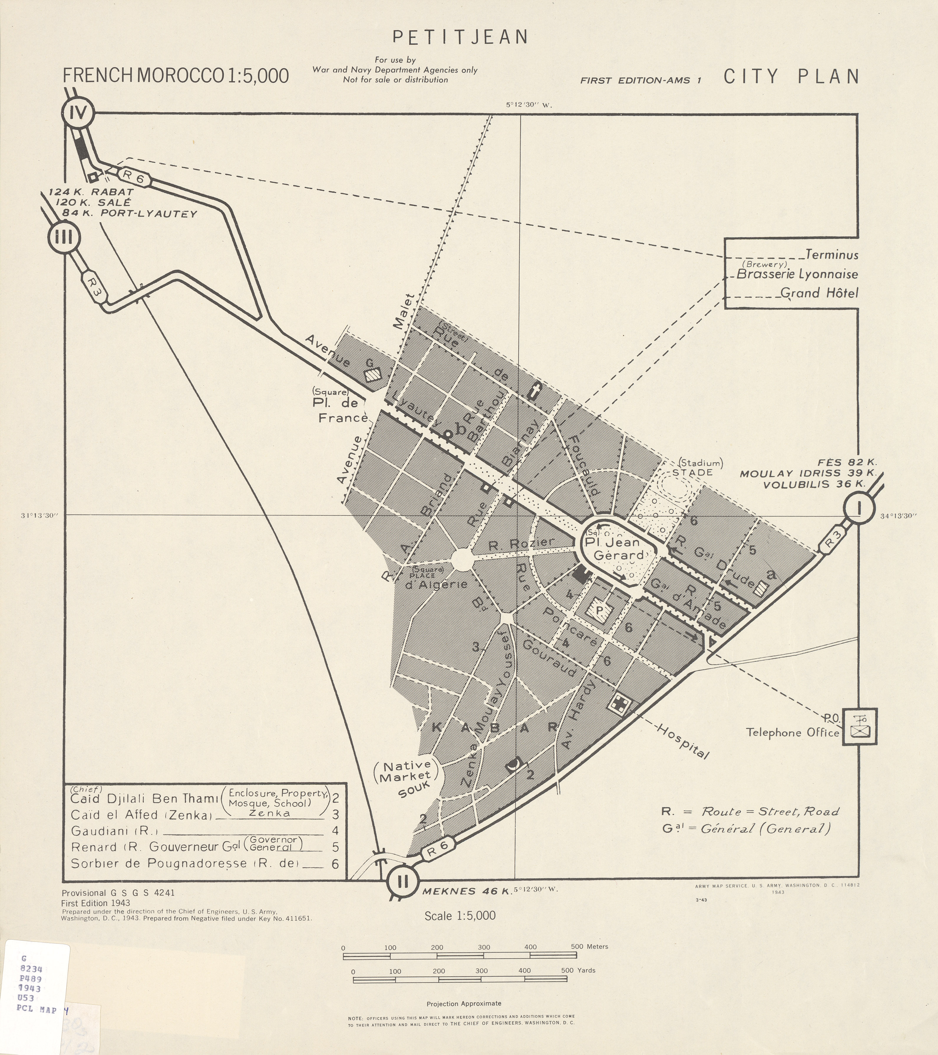 Mapa de la Ciudad de Sidi Kacem (Petitjean), Marruecos 1943