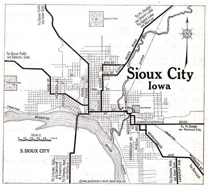 Mapa de la Ciudad de Sioux City, Iowa, Estados Unidos 1920