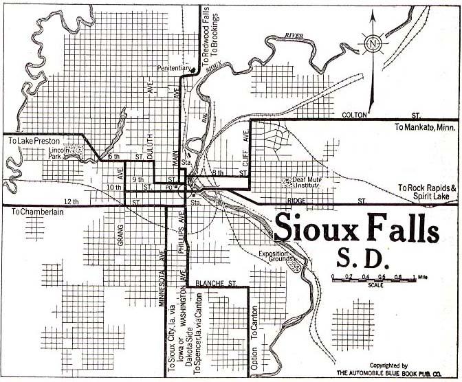 Mapa de la Ciudad de Sioux Falls, Dakota del Sur, Estados Unidos 1920