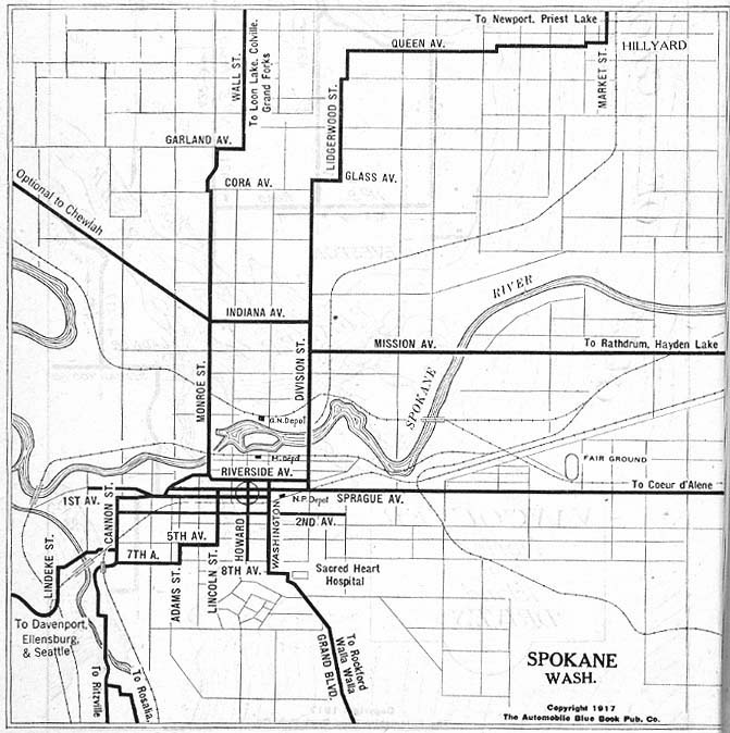 Mapa de la Ciudad de Spokane, Washington, Estados Unidos 1917