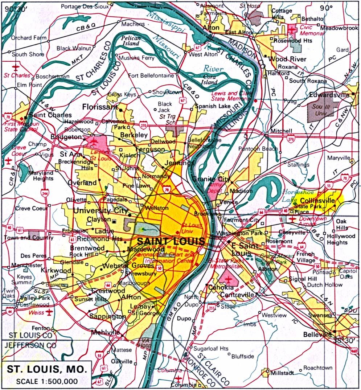 Mapa de la Ciudad de St.Louis, Missouri, Estados Unidos
