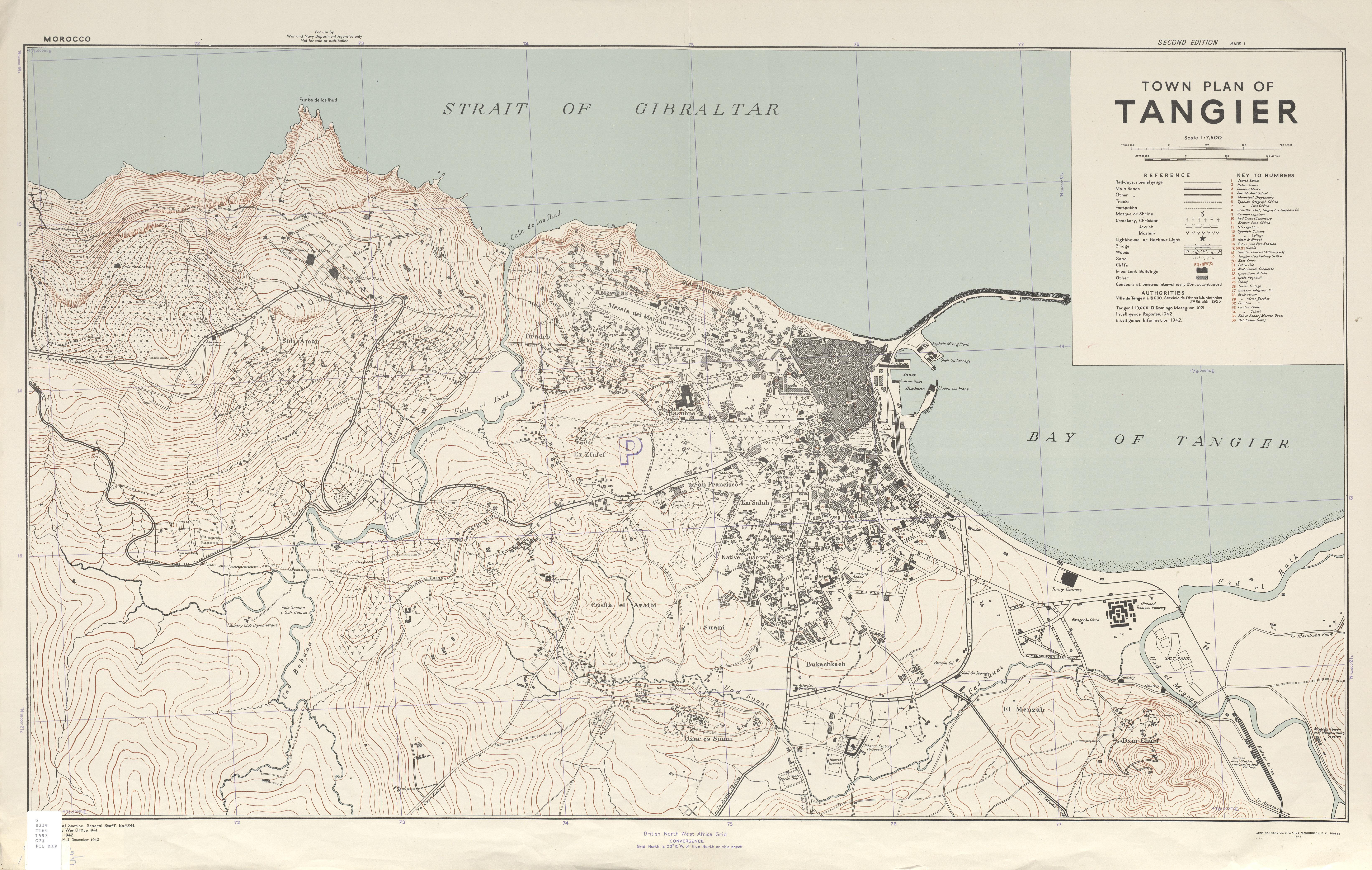 Mapa de la Ciudad de Tánger, Marruecos 1943
