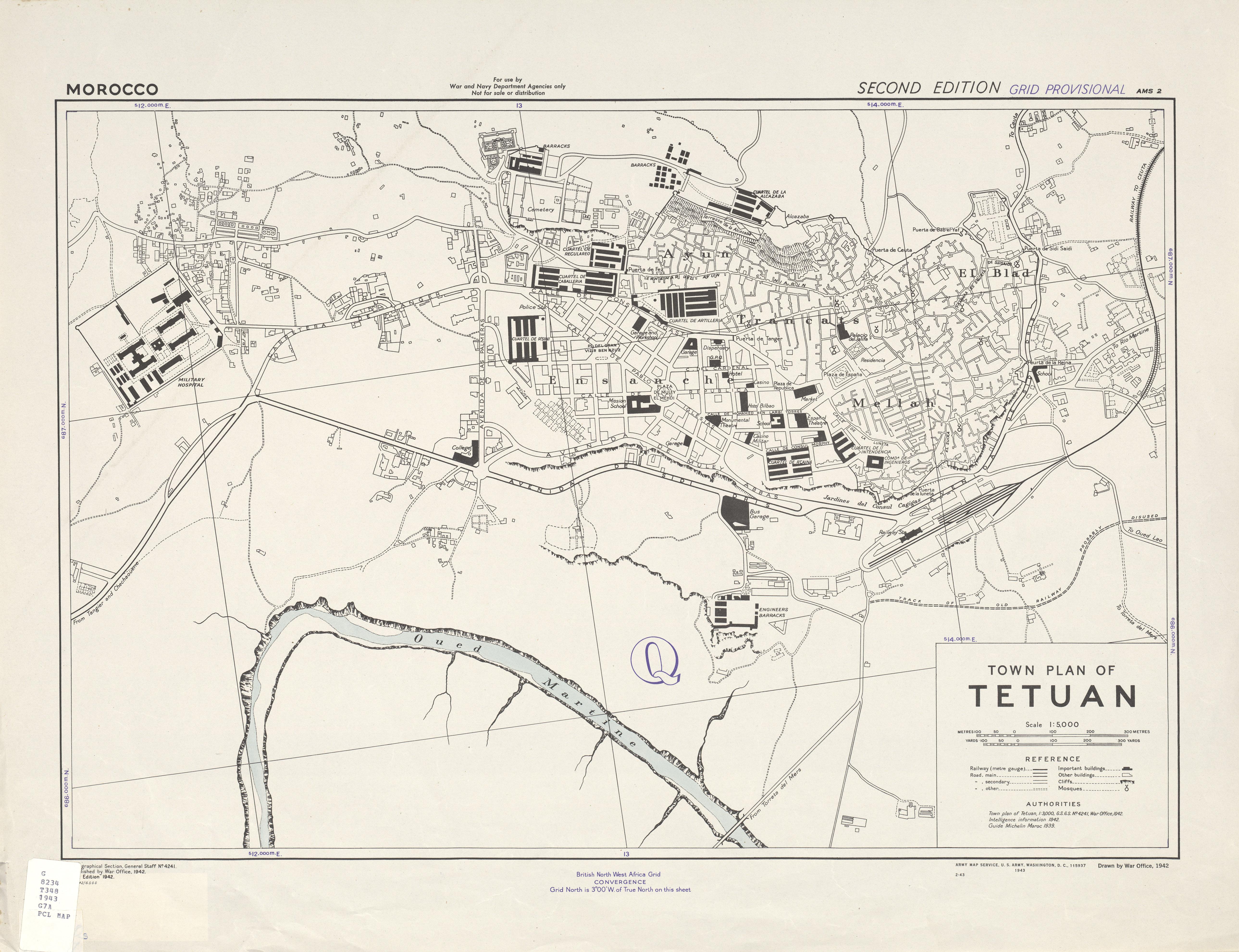 Mapa de la Ciudad de Tetuán, Marruecos 1943