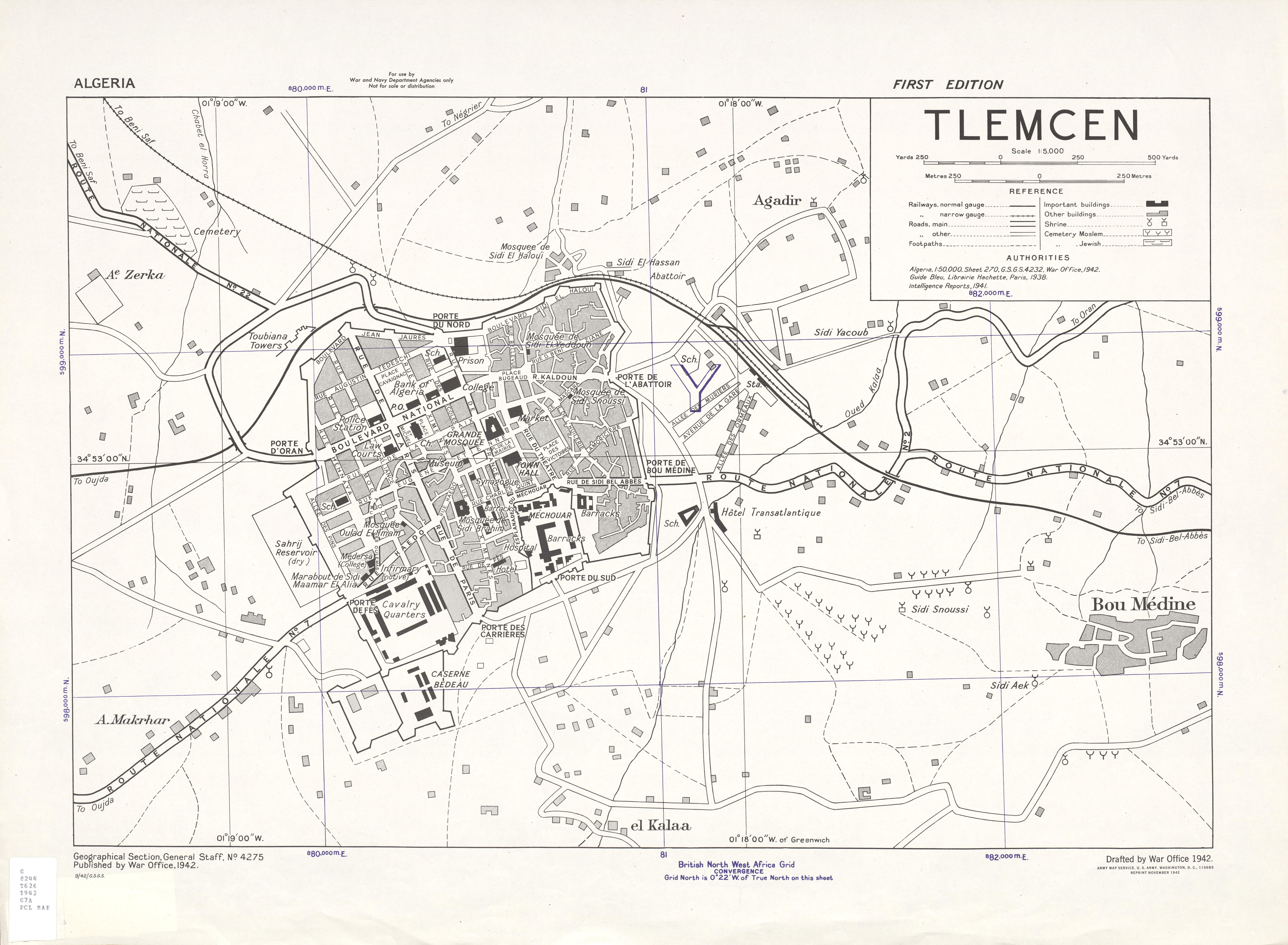 Mapa de la Ciudad de Tlemecén, Argelia 1942