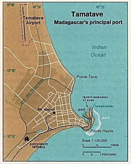 Mapa de la Ciudad de Toamasina (Tamatave), Madagascar