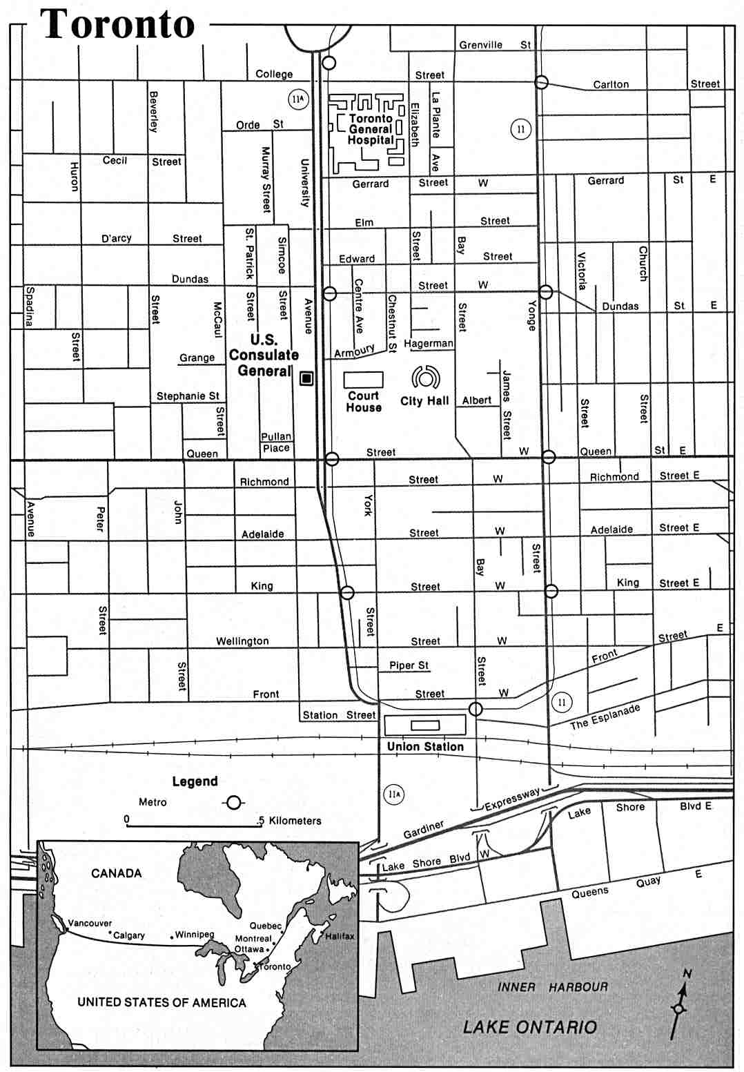 Toronto City Map, Ontario, Canada