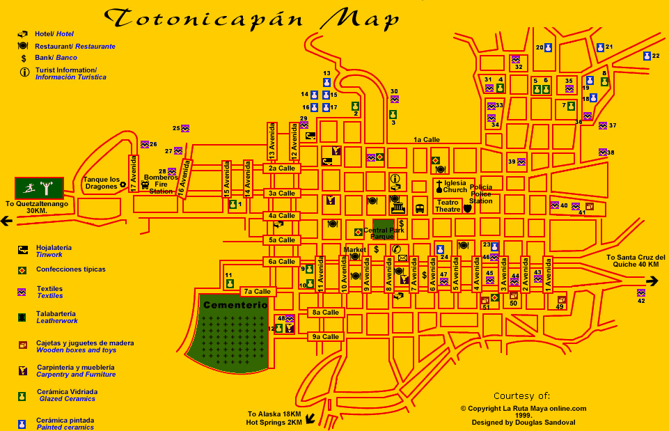 Map of Totonicapán City, Guatemala