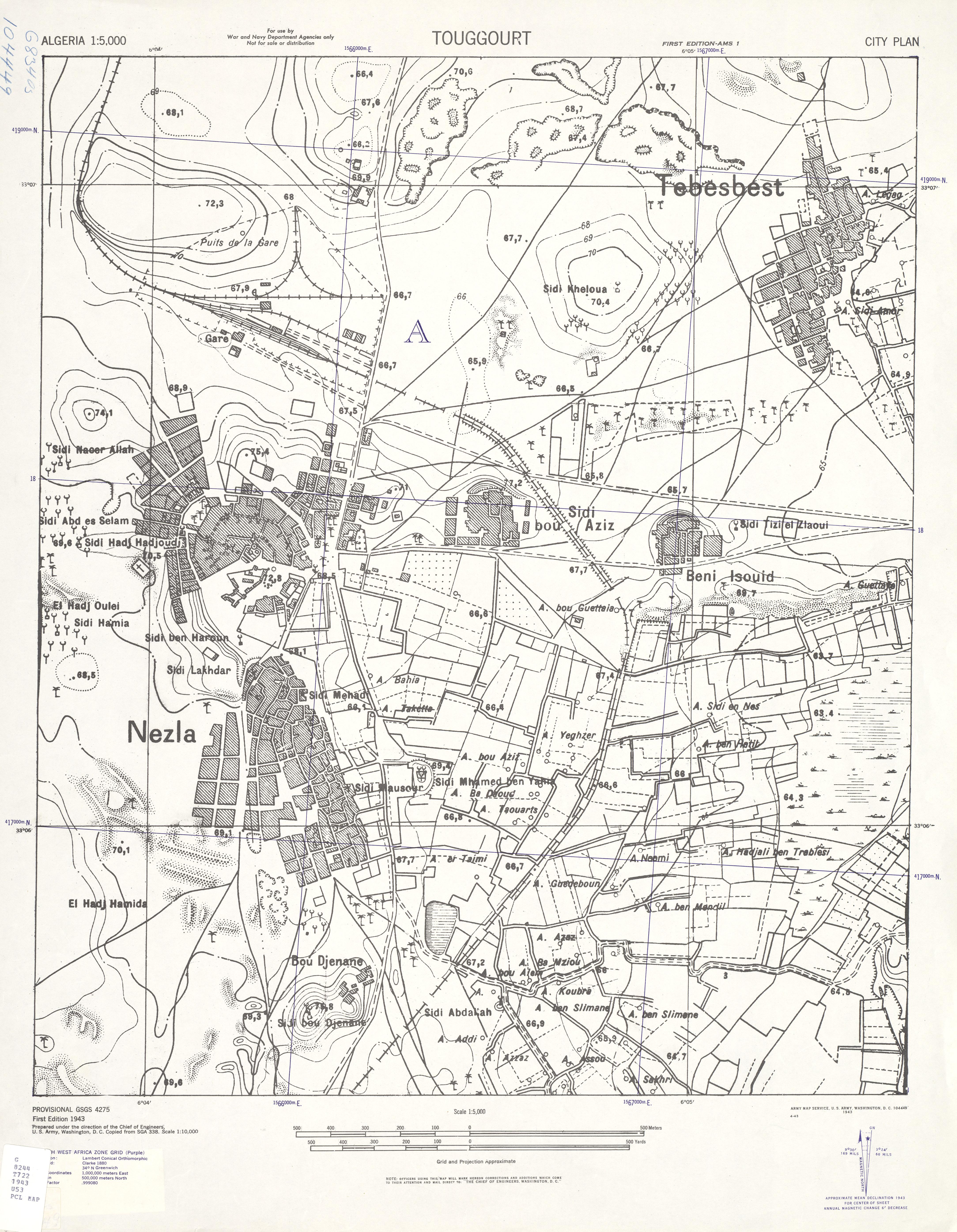 Mapa de la Ciudad de Touggourt, Argelia 1943