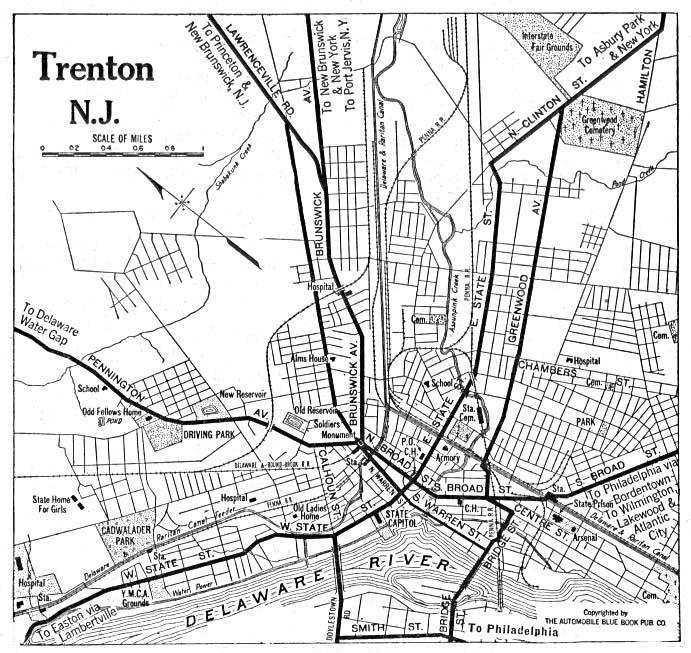 Mapa de la Ciudad de Trenton, Nueva Jersey, Estados Unidos 1920