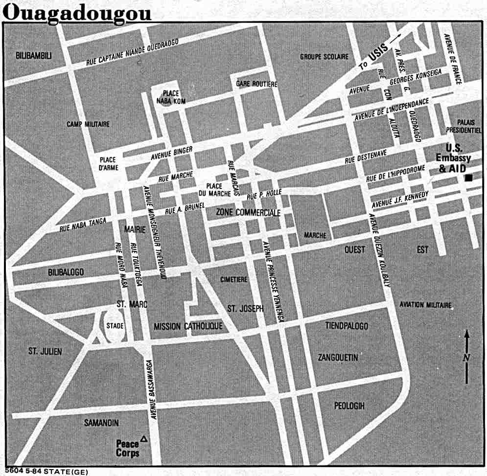 Mapa de la Ciudad de Uagadugú, Burkina Faso