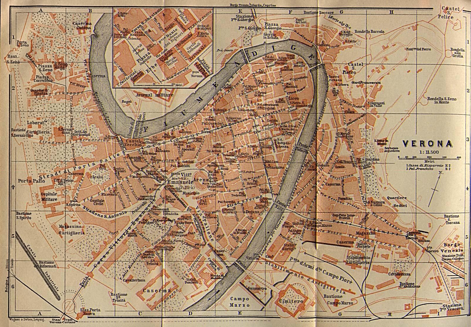 Mapa de la Ciudad de Verona, Italia 1913