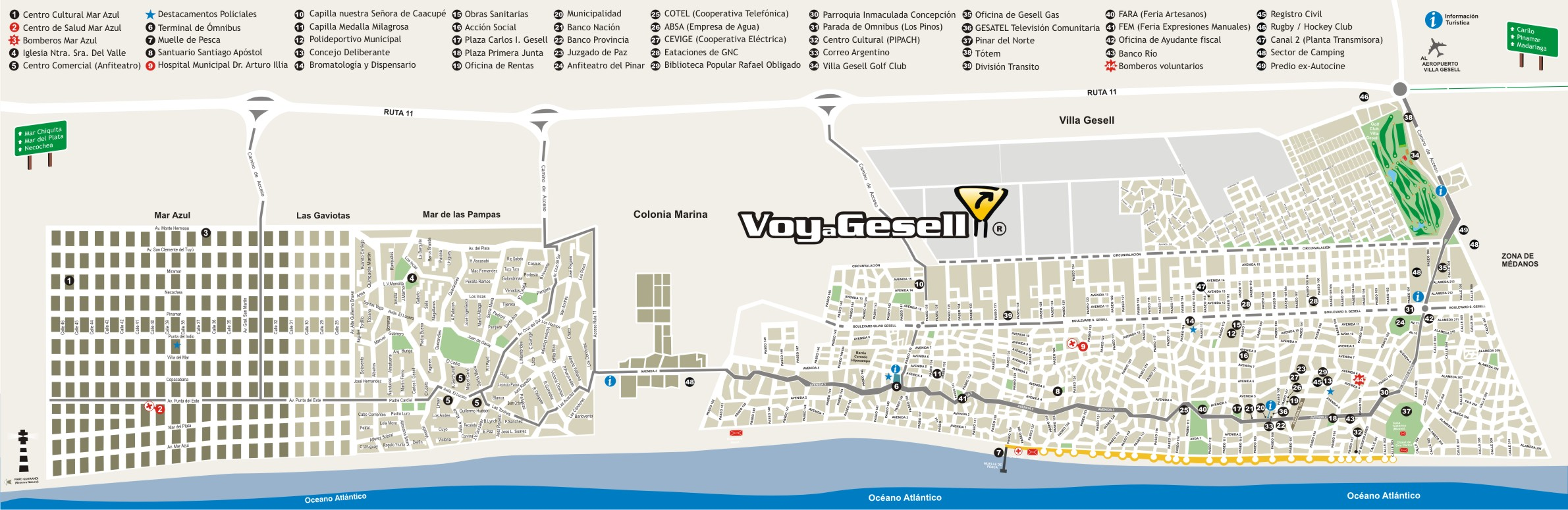 Mapa de la Ciudad de Villa Gesell