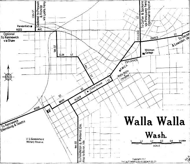 Walla Walla City Map, Washington, United States 1917