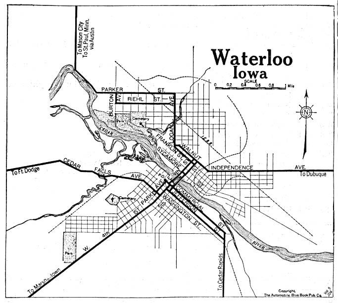 Waterloo City Map, Iowa, United States 1919
