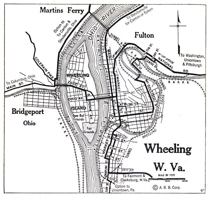 Wheeling City Map, West Virginia, United States 1920