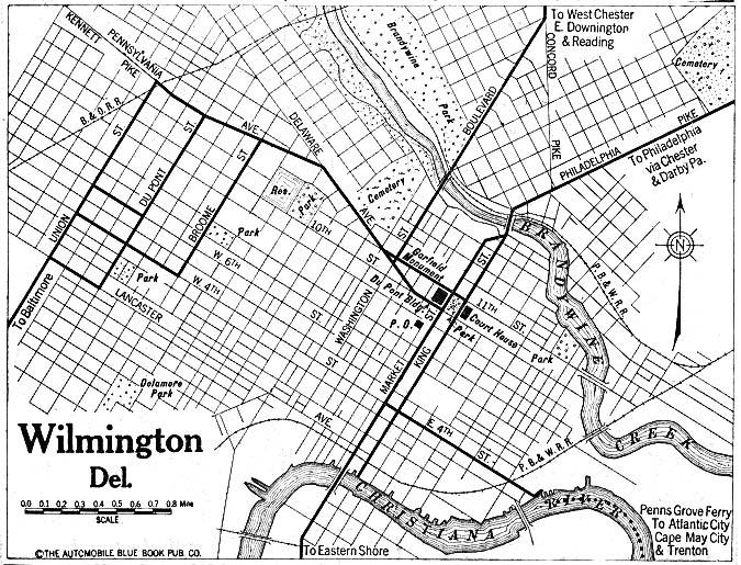 Mapa de la Ciudad de Wilmington, Delaware, Estados Unidos 1920