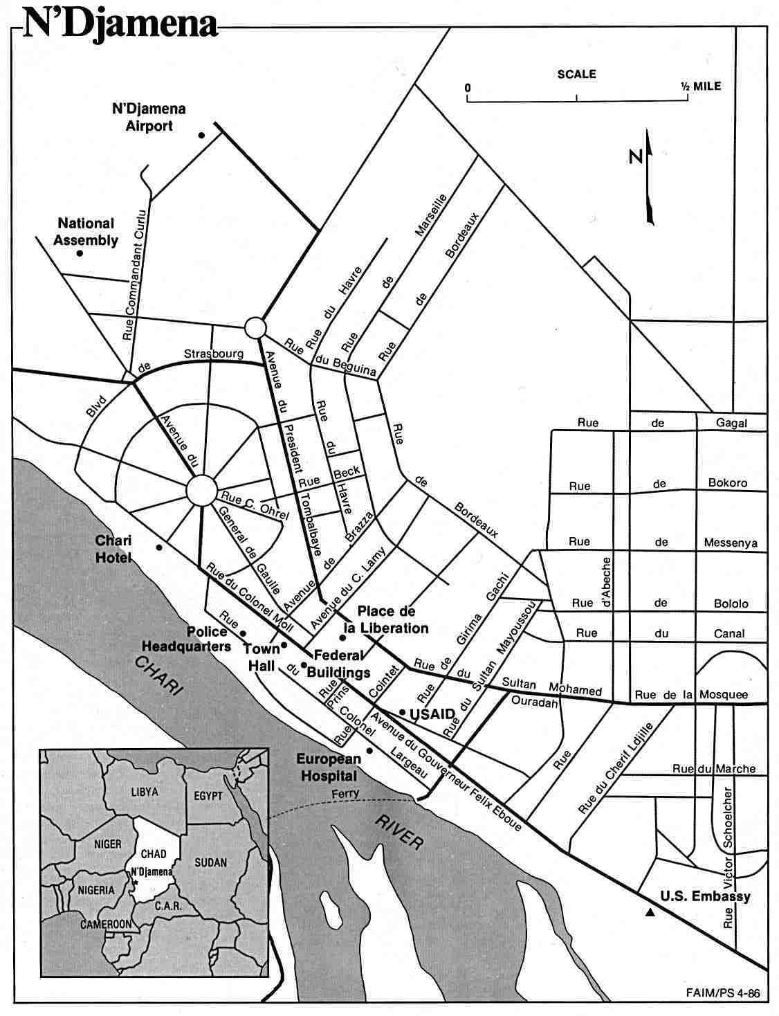 Mapa de la Ciudad de Yamena, Chad