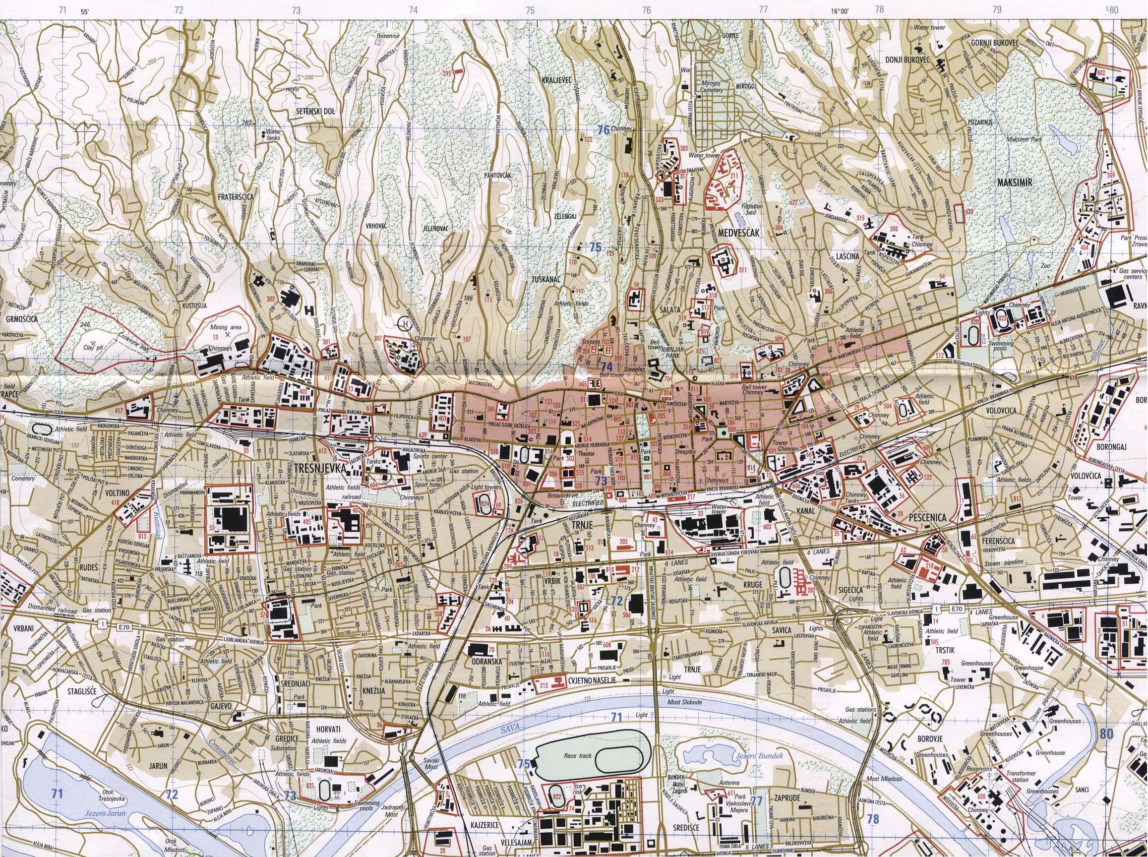 Mapa De La Ciudad De Zagreb Croacia Mapa Owje Com