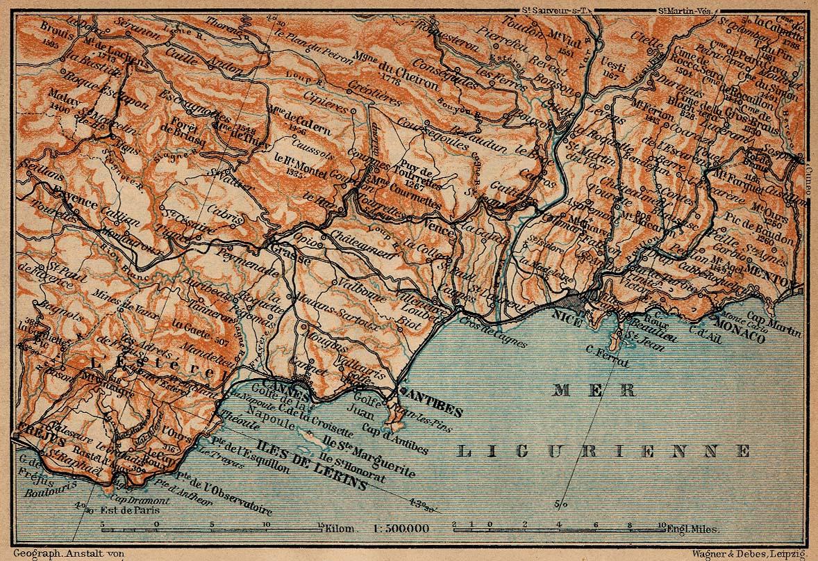 Mapa de la Costa Azul, Desde Fréjus Hasta Menton, Francia 1914