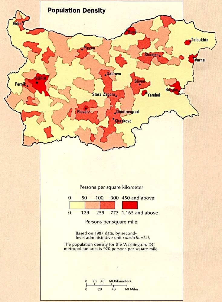 Mapa de la Densidad Poblacional de Bulgaria