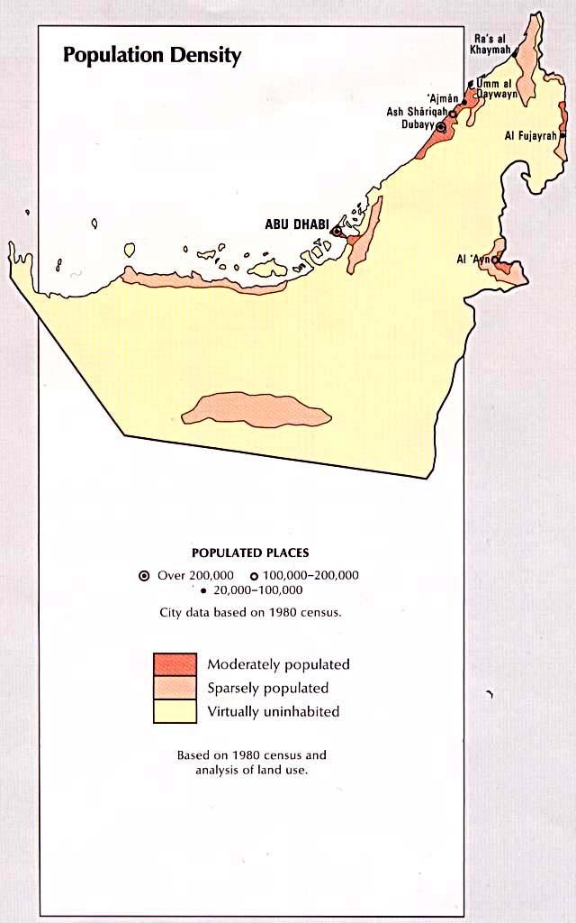 Mapa de la Densidad Poblacional de Emiratos Árabes Unidos