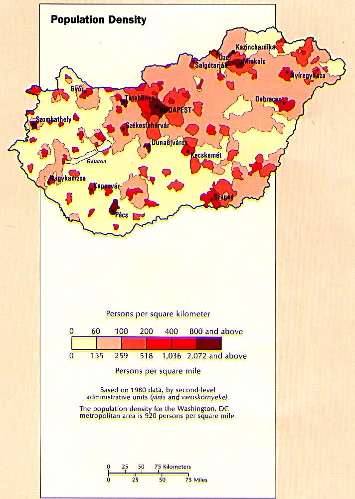 Mapa de la Densidad Poblacional de Hungría