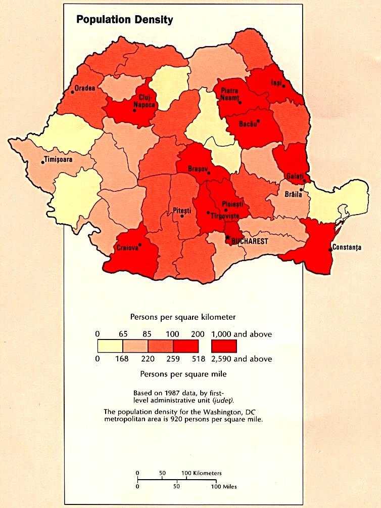 Mapa de la Densidad Poblacional de Rumania