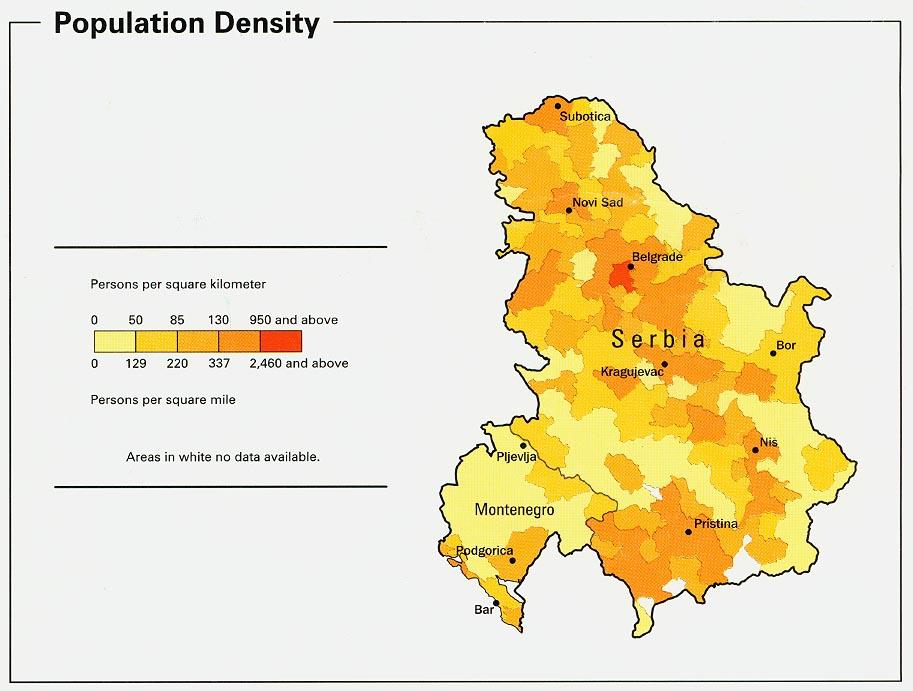 Mapa de la Densidad Poblacional de Serbia y Montenegro