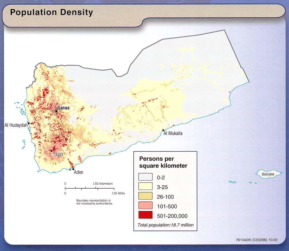 Mapa de la Densidad Poblacional de Yemen