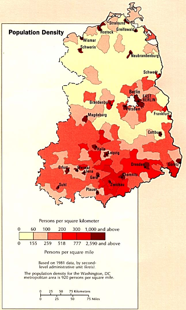 Former East Germany Population Density Map, August 1990