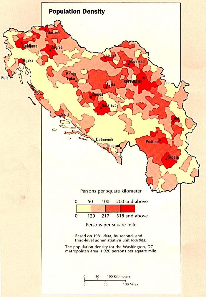 Mapa de la Densidad Poblacional en la Ex Yugoslavia