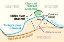 Mapa de la Disputa del Chamizal, Texas, (Estados Unidos) y Chihuahua (México) 1997