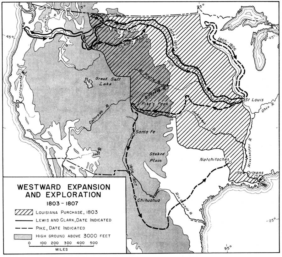 Mapa de la Expansion y Exploración Hacia el Oeste, Estados Unidos 1803  - 1807