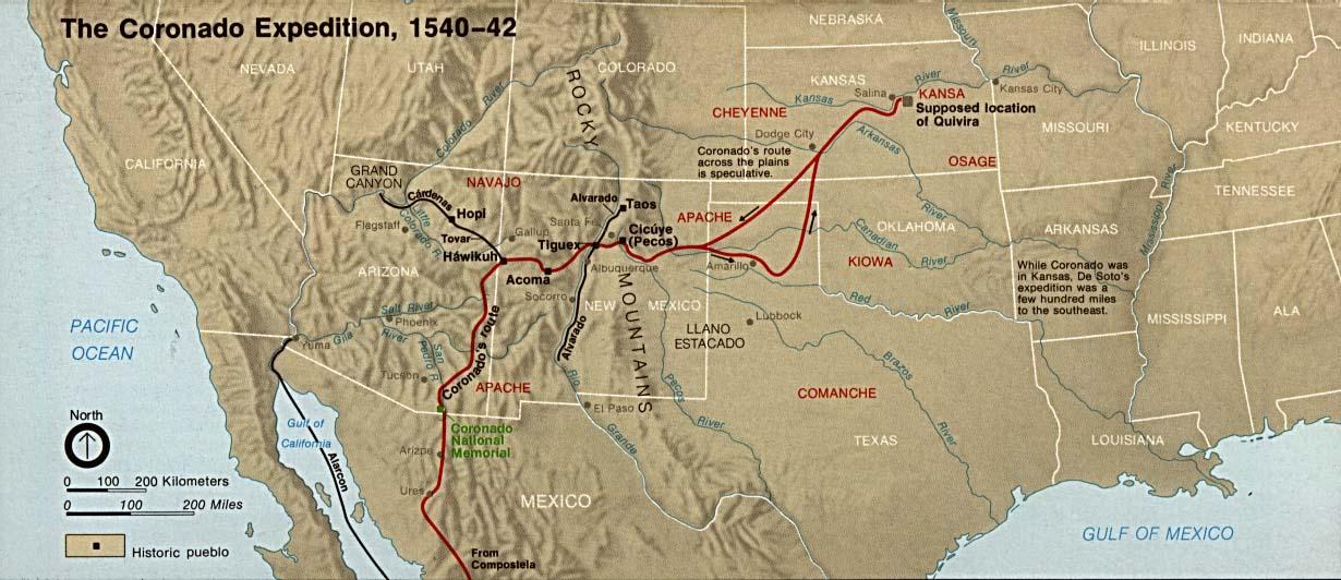 Mapa de la Expedición de Francisco Vázquez de Coronado, Suroeste de Estados Unidos 1540  - 1542