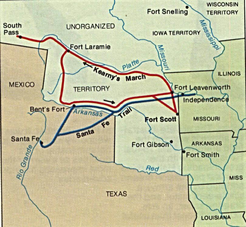 Kearny Battle Route Map, Mexican-American War 1846