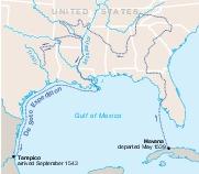 Mapa de la Exploración Hernando de Soto, Estados Unidos Meridional
