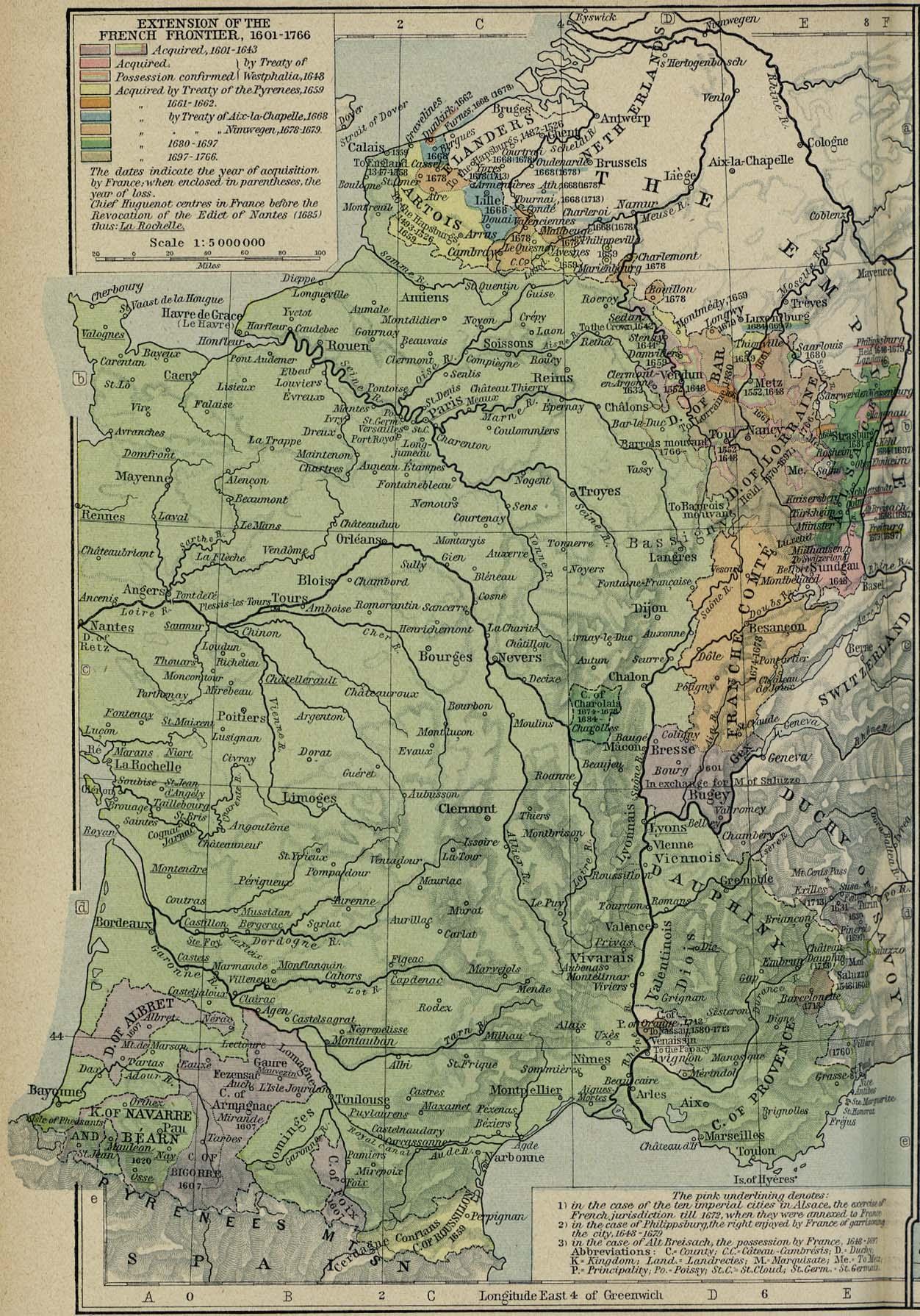 Mapa de la Extensión de las Fronteras Francesas 1601 - 1766