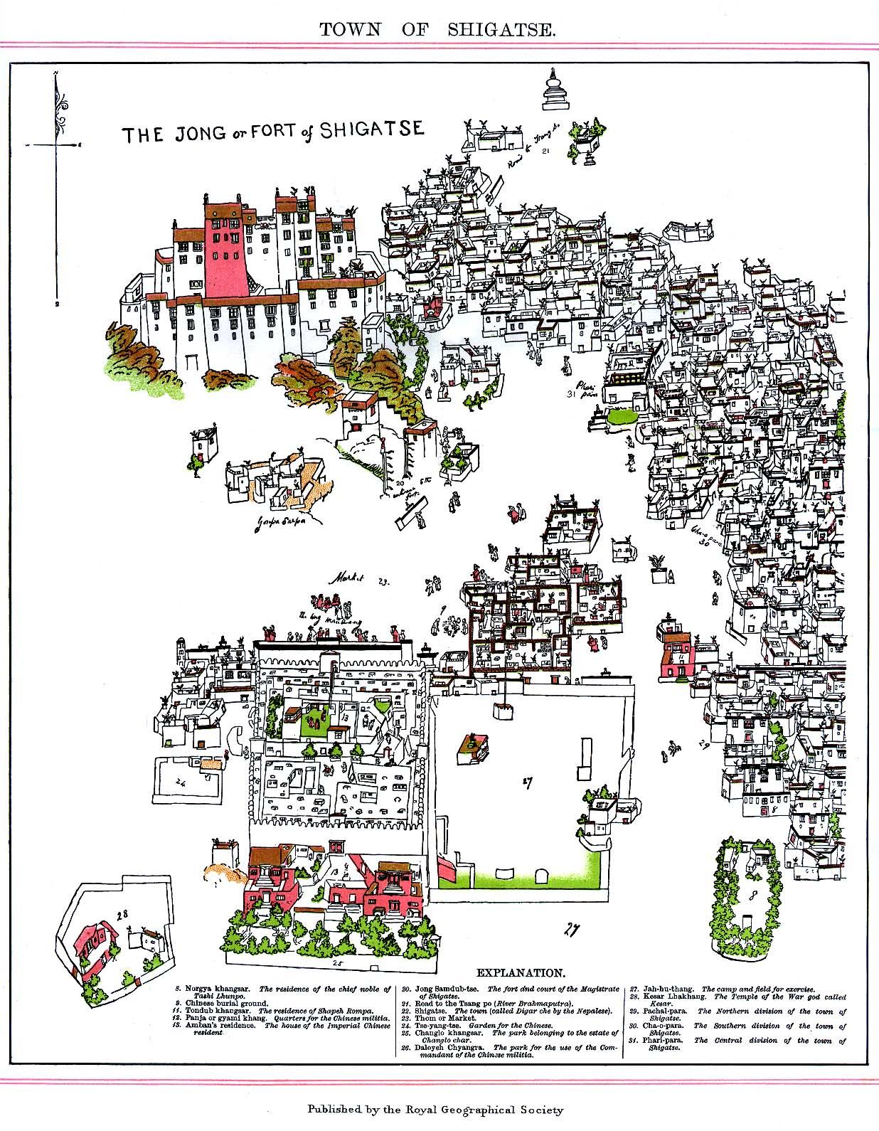 Mapa de la Fortaleza Dzong de Shigatse, Tibet 1902