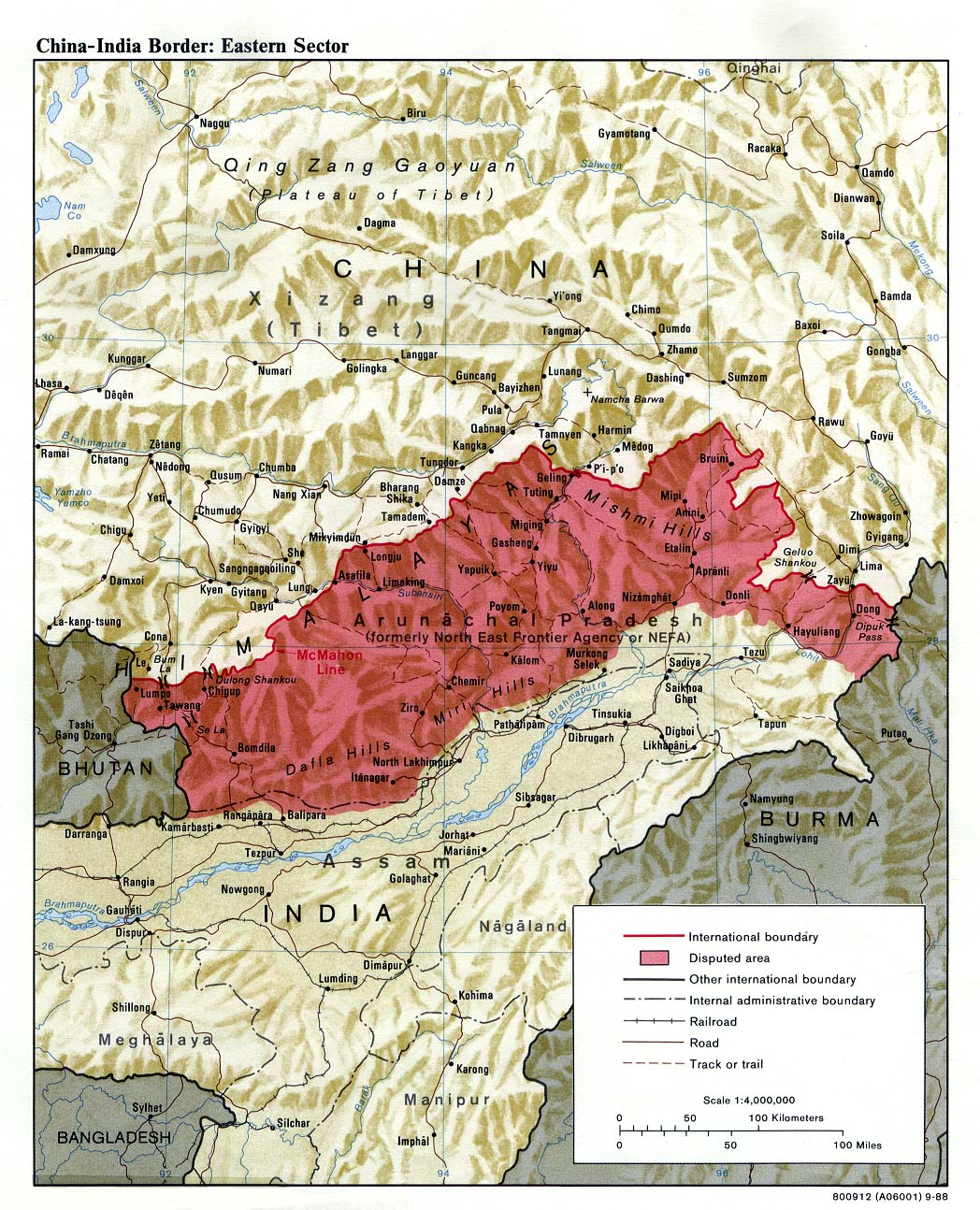 China - India Border Eastern Sector Map