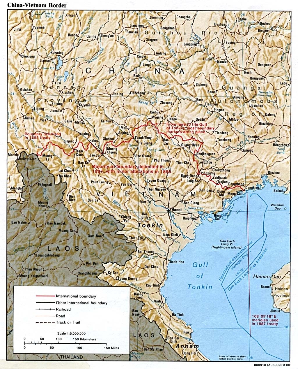 Mapa de la Frontera China - Vietnam