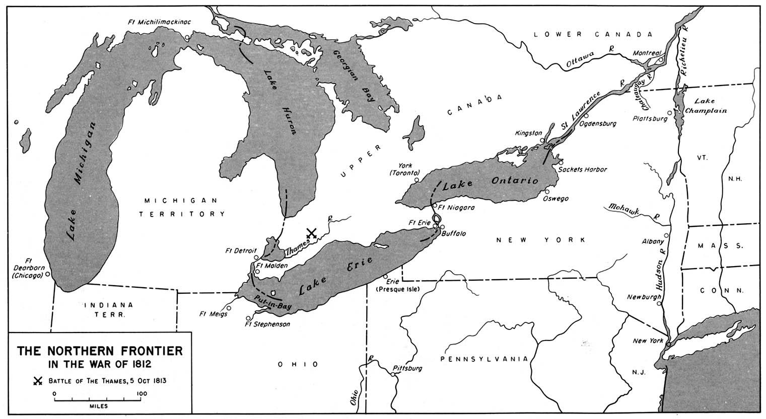 Mapa de la Frontera Norte en la Guerra Anglo-Estadounidense de 1812
