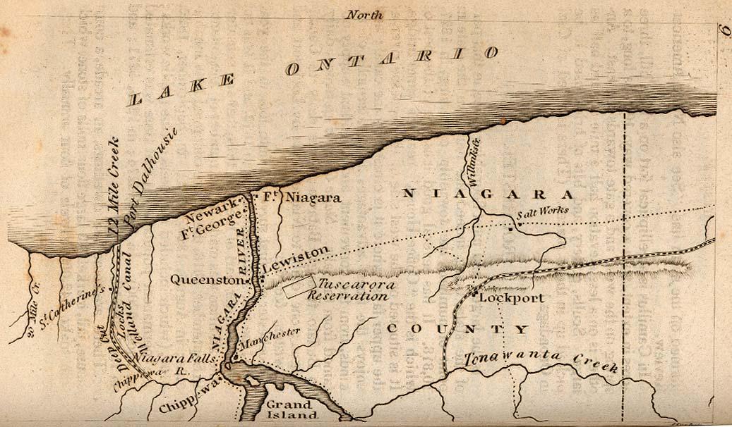 Mapa de la Frontera de Niágara, Nueva York, Estados Unidos 1830