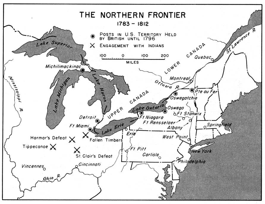 Mapa de la Frontera del Norte, Estados Unidos  1783  - 1812