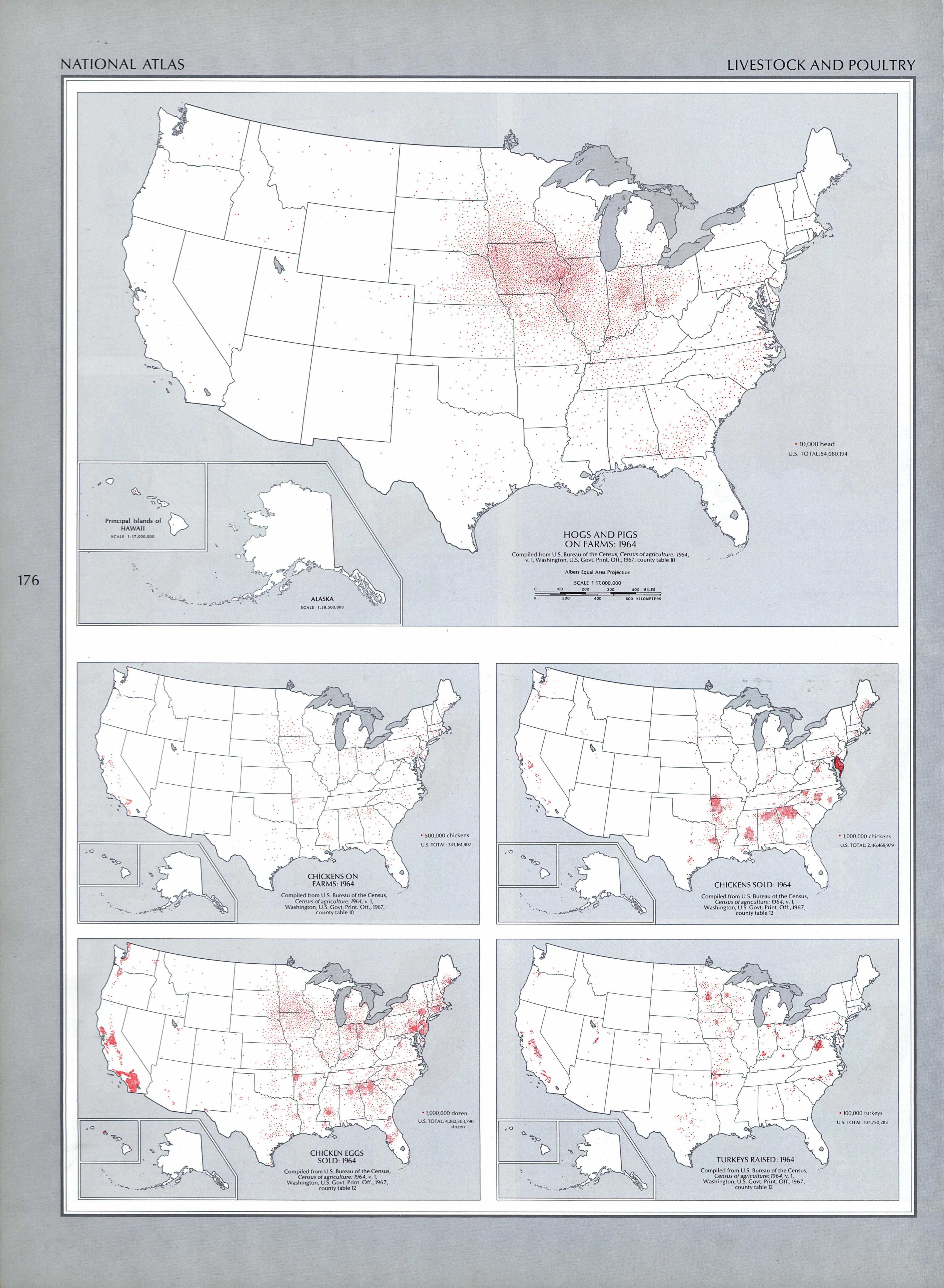 Mapa de la Ganadería y de la Producción Avícola en Estados Unidos