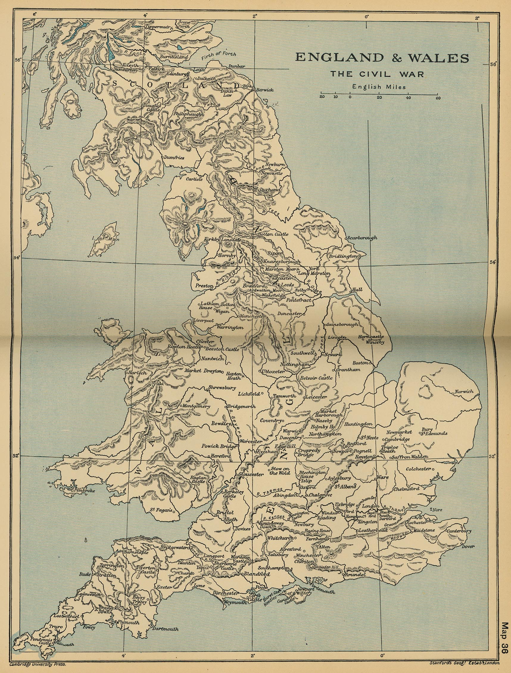 Map of the Civil War, England and Wales 1642  - 1651