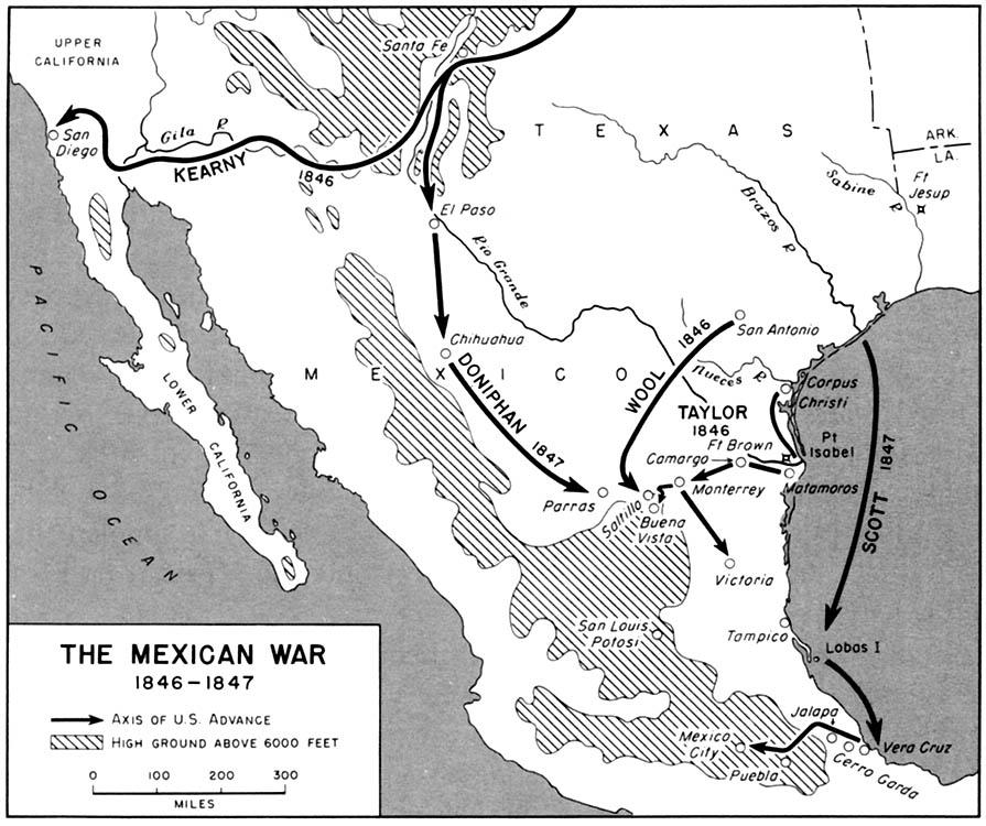 Mapa de la Guerra México-Estadounidense 1846  - 1847