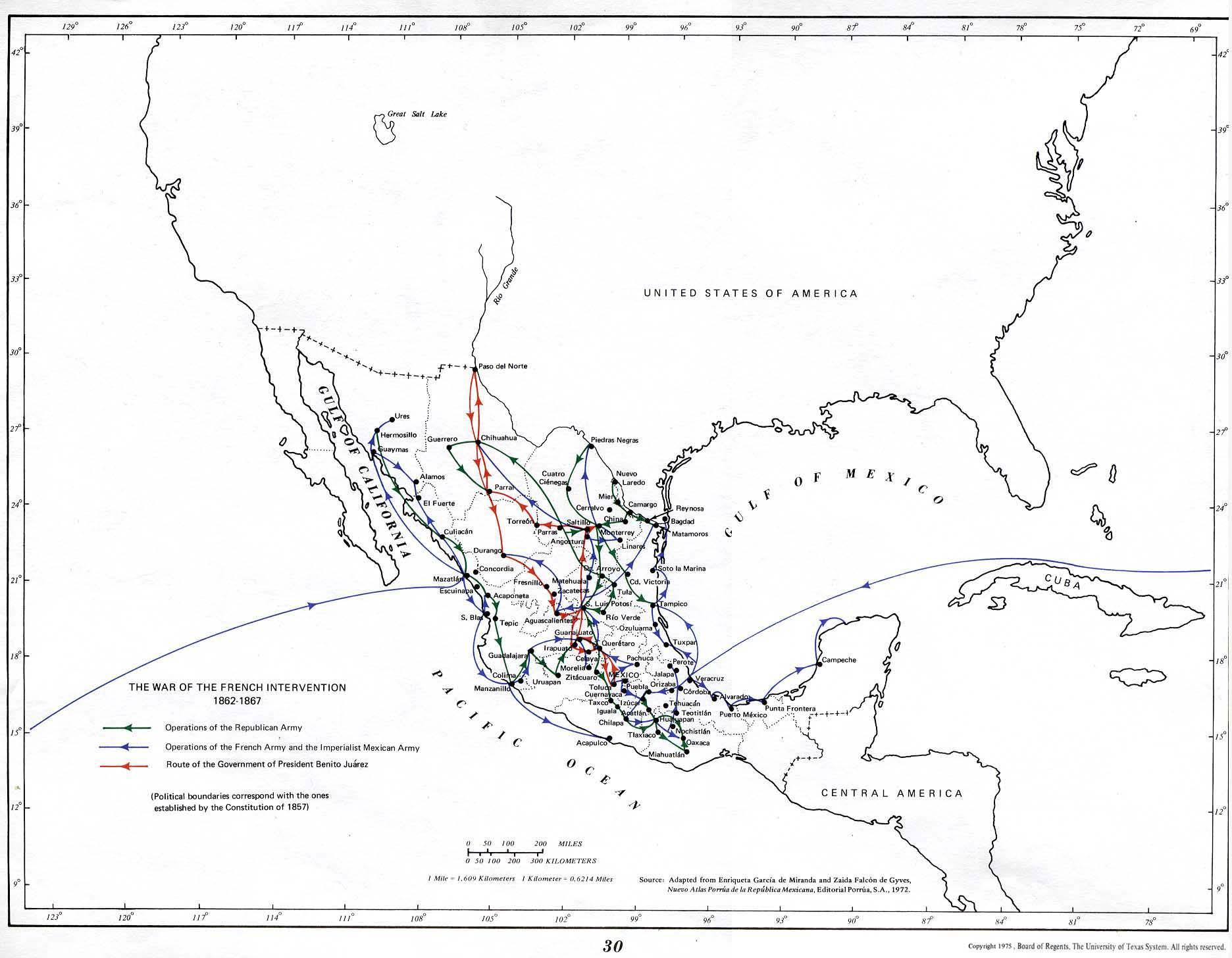Mapa de la Guerra de Intervención Francesa, México 1862 - 1867