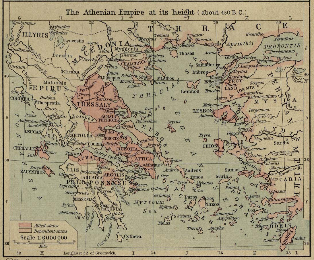 Mapa de la Hegemonía de Atenas en su Apogeo (Circa 450 adC)