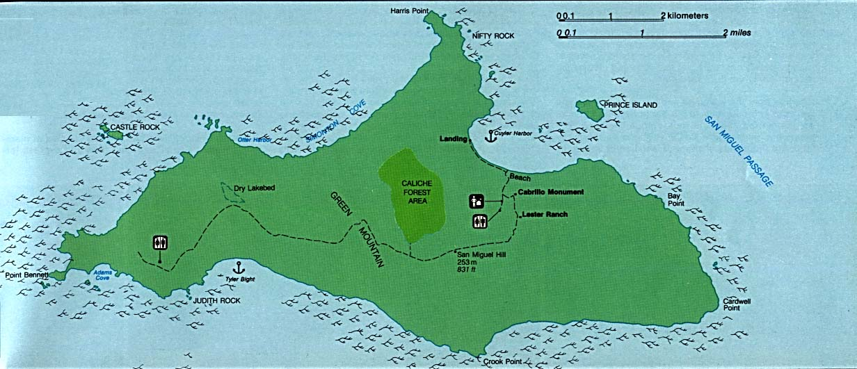 San Miguel Island Map, Channel Islands National Park, California, United States