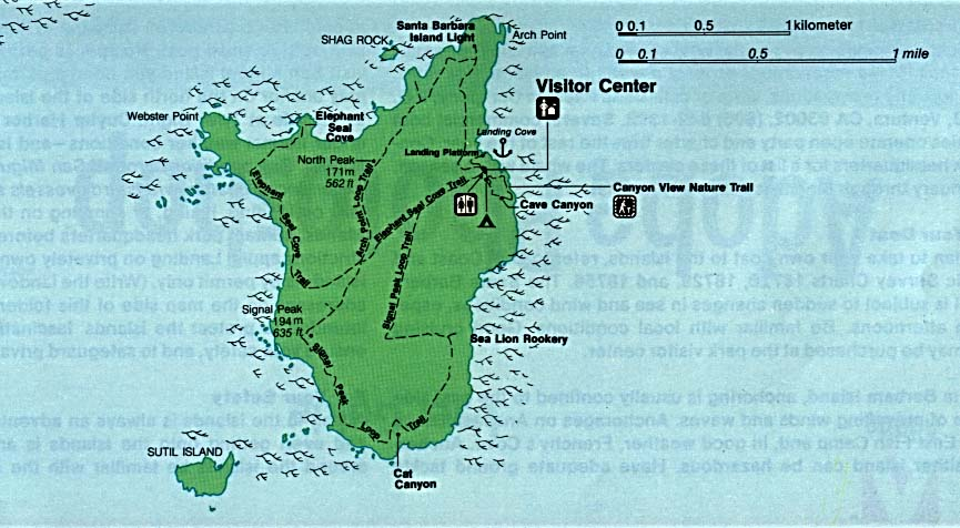 Santa Barbara Island Map, Channel Islands National Park, California, United States